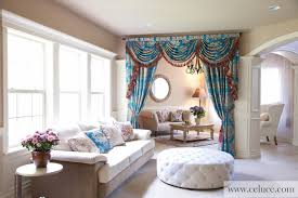 Swag Curtains For Living Room Blue Lantern Swag Valance Curtain Set Traditional Living Room