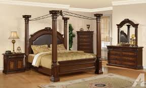 bedroom impressive details about king size brown cherry canopy