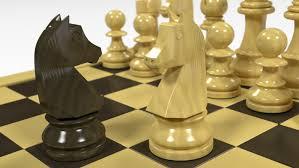 german knight staunton chess set model