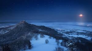 landscape nature winter castle snow forest moon starry