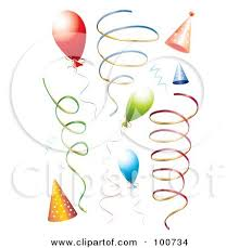 ribbon streamers royalty free rf clipart illustration of a digital collage of party
