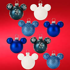 disney ornament set mickey mouse ears mini blue snowflake