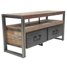 Wood Furniture Design Tv Table Loft Tv Unit With 2 Drawers Industrial Style Industrial And Cycling