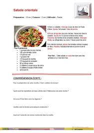 une recette de cuisine reading comprehension