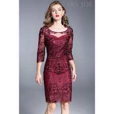 premium red floral embroidered dress