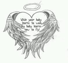 miscarriage tattoo design u2013 angel wings with holy halo and wording