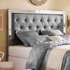 Mirror Bed Frame Or Size Upholstered Tufted Mirrored Headboard
