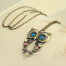 vintage owl necklace jewelry images Vintage owl pendant necklace introvert palace jpg