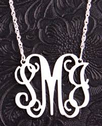 Monogrammed Necklace Medium Sterling Silver Monogram Filigree Pendant Personalized