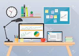 Business Computer Desk Computer Desk Workplace Business Concept Vector Royalty