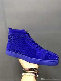 2017 new arrive red bottom sneakers for men with spikes blue suede