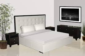 Modern Bedroom Set With White Leather Storage Bed Laramie - White leather headboard bedroom sets