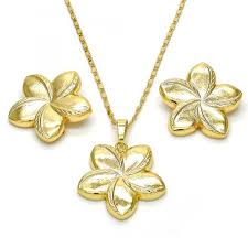 gold flower necklace designs images Gold layered necklace and earring flower design golden tone jpg