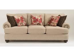 flexsteel living room fabric sofa with nailhead trim