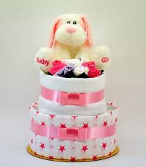 newborn nappy cake baby silky dog 2 layer nappy cakes