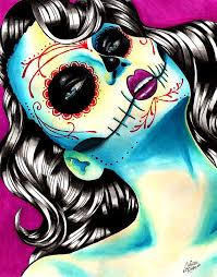 sugar skull day of the dead signed print style pin