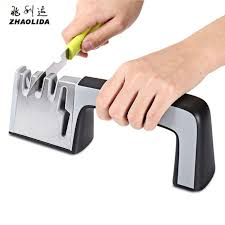 Sharpening Ceramic Kitchen Knives Zhaolida 4 In 1 3 Stages Stainless Steel Knife Sharpener Ceramic