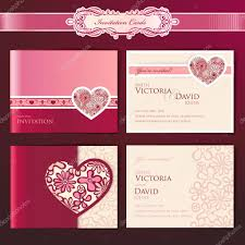 Wedding Invitation Cards With Photos Set Of Wedding Invitation Cards U2014 Stock Vector Tanjakrstevska