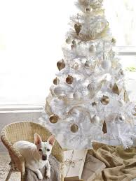 white christmas tree with gold decorations u2013 happy holidays