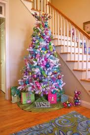 white christmas tree with pink and blue decorations