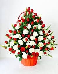 flower basket and white roses flower basket