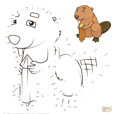 beaver dot to dot free printable coloring pages