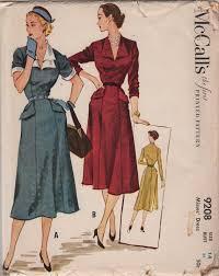 v shaped dress pattern mccalls 9208 1950s misses dress pattern flared skirt v neck shaped