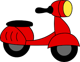 tricycle cartoon little red motor scooter free clip art