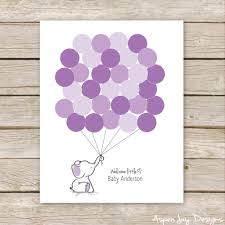 purple guest book purple elephant balloon signature guest book printable for