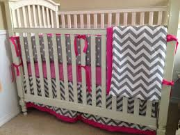and pink chevron bedding