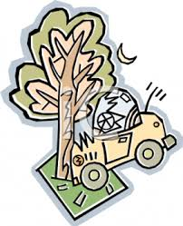 animated wrecked car cartoon of a car crashed into a tree royalty free clip art