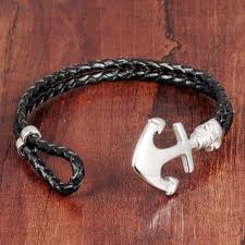 leather braided anchor bracelet images Opk fashion double leather anchor bracelets handmade leather jpg