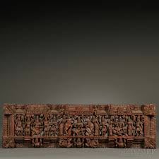 hindu wood panel india 20th century rectangular the pierced