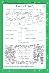 calendar and time measurement math practice worksheet grade 1