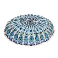 blue and white ottoman blue white mandala round floor pillow cover ottoman pouf pom pom