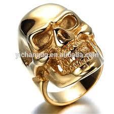 skull finger rings images Men 39 s jewelry stainless steel golden skull ring latest gold finger jpg