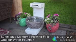 sunnydaze monterno flowing falls outdoor fountain xca 13303 youtube