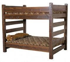 Lodge Queen Over Queen Barnwood Bunk Bed For Cabins - Queen over queen bunk bed