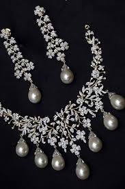diamond pearl necklace set images Diamond pearl necklace set jewelry ethnic wood etsy jpg