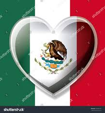 Mexican Flag Eagle Mexican Flag Colorful Silhouette 3d Heart Stock Vector 783501991