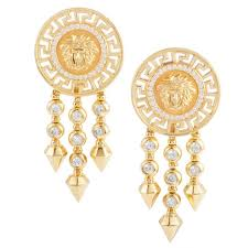 earrings clip on versace diamond yellow gold clip on dangle earrings at 1stdibs