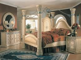 Margaret King Poster Canopy Bed  Piece Bedroom Set Antique White - Black canopy bedroom sets queen