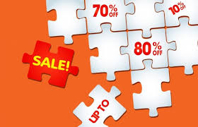 sale background flat puzzle joints icons decoration free vector in