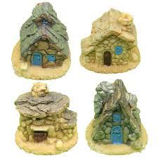 Stone Home Decor 4 Pieces Miniature Fairy Garden Stone House Mini Fairy Cottage