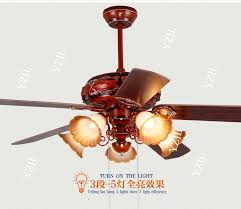 5 Light Ceiling Fan Retro Home Ceiling Fan Light 52inch Restaurant Led Fan