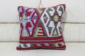 18x18 plaid kilim pillow embroidered pillow navajo pillow floor