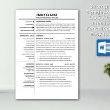 Resume Template With Cover Letter Resume Template Instant Download Cv Template Professional
