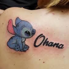 ohana u2013 stitch tattoo on left back shoulder