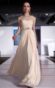 Formal Gowns Floor Length A Line Scoop Natural Waist With Beading Chiffon