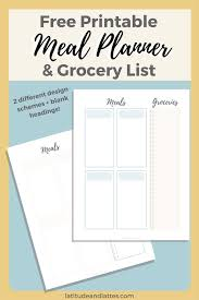 Menu Planner With Grocery List Template Free Printable Meal Planner Grocery List Latitude Lattes